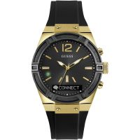 Unisex Guess CONNECT Bluetooth Schwarz und Gold 41mm Smartwatch Chronograf Uhr