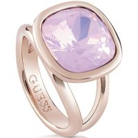 Femmes Guess PVD rose plating CRYSTAL SHADES RING SIZE N